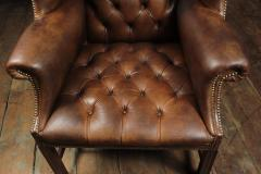 Georgian Style Brown Buttoned Leather Wing Chair - 2051502