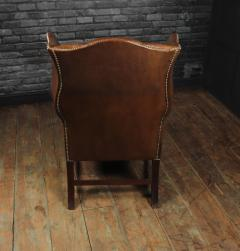 Georgian Style Brown Buttoned Leather Wing Chair - 2051506