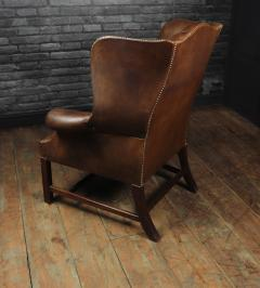 Georgian Style Brown Buttoned Leather Wing Chair - 2051507