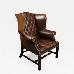 Georgian Style Brown Buttoned Leather Wing Chair - 2051691