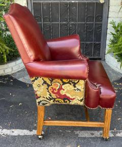 Georgian Style Red Leather Tapestry Desk Chair - 1999861