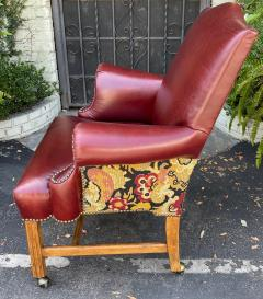 Georgian Style Red Leather Tapestry Desk Chair - 1999866