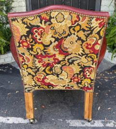 Georgian Style Red Leather Tapestry Desk Chair - 1999868