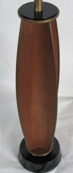 Gerald Thurston Gerald Thurston Parabolic Walnut and Brass Lightolier Table Lamp circa 1956 - 572778