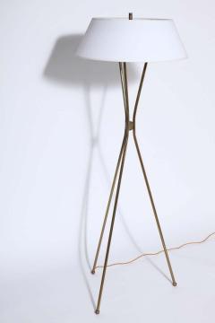 Gerald Thurston Gerald Thurston for Lightolier Brass Tripod Floor Lamp with Linen Shade 1950s - 1739866
