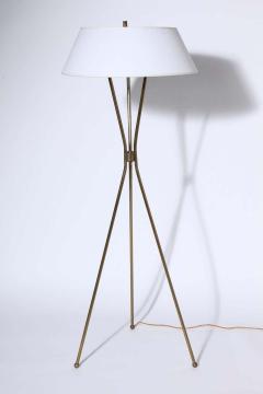 Gerald Thurston Gerald Thurston for Lightolier Brass Tripod Floor Lamp with Linen Shade 1950s - 1739868