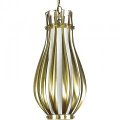 Gerald Thurston Gourd Form Brushed Brass and Milk Glass Pendant Light - 267129