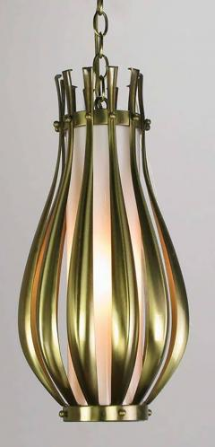 Gerald Thurston Gourd Form Brushed Brass and Milk Glass Pendant Light - 649638