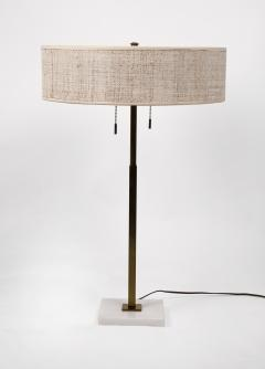 Gerald Thurston Stiffel Table Lamp by Gerald Thurston Brass Marble with Lacquered Cane Shade - 1553497