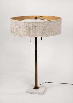 Gerald Thurston Stiffel Table Lamp by Gerald Thurston Brass Marble with Lacquered Cane Shade - 1553498
