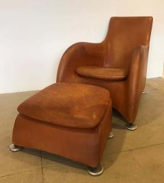 Gerard van den Berg Dutch 1990s Montis Leather Lounge Chair and Ottoman - 1317710
