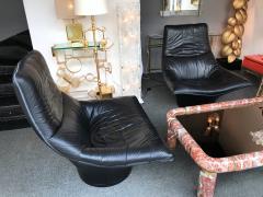 Gerard van den Berg Pair of Leather Lounge Armchairs by Gerard Van Den Berg Netherlands 1980s - 622743