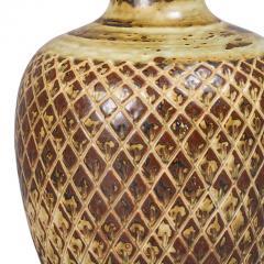 Gerd Bogelund Vase with Diamond Lattice Ornament and Sung Glaze by Gerd Bogelund - 1485168