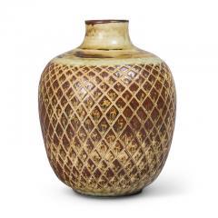 Gerd Bogelund Vase with Diamond Lattice Ornament and Sung Glaze by Gerd Bogelund - 1485172