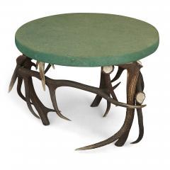 German Antler Circular Coffee Table with Green Felt Top - 1937735