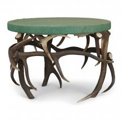 German Antler Circular Coffee Table with Green Felt Top - 1937736