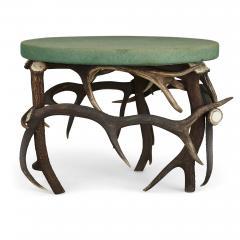 German Antler Circular Coffee Table with Green Felt Top - 1937737