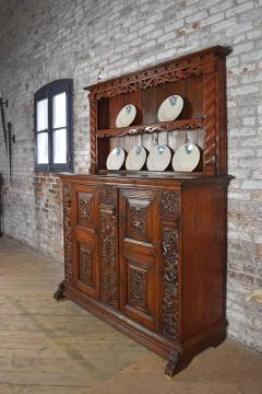 German Lower Rhine 18th Century Carved Pine Cabinet with Dish Rack - 1300558