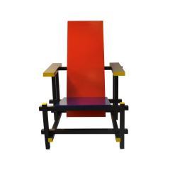 Gerrit Rietveld Gerrit Rietveld Armchair model 635 Red Blue for Cassina in Wood - 1757740
