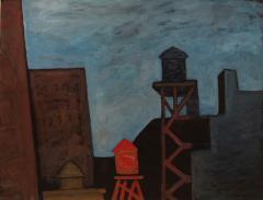Gershon Benjamin Night Time Rooftops with Water Tanks  - 909145