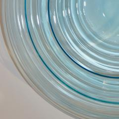 Giampaolo Ghisetti Giampaolo Ghisetti 1970s Vintage Round Aquamarine Blue Murano Glass Ribbed Bowl - 1116975