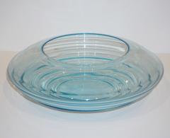 Giampaolo Ghisetti Giampaolo Ghisetti 1970s Vintage Round Aquamarine Blue Murano Glass Ribbed Bowl - 1116976