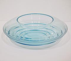 Giampaolo Ghisetti Giampaolo Ghisetti 1970s Vintage Round Aquamarine Blue Murano Glass Ribbed Bowl - 1116977