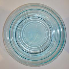 Giampaolo Ghisetti Giampaolo Ghisetti 1970s Vintage Round Aquamarine Blue Murano Glass Ribbed Bowl - 1116979