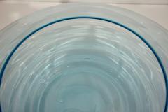 Giampaolo Ghisetti Giampaolo Ghisetti 1970s Vintage Round Aquamarine Blue Murano Glass Ribbed Bowl - 1116980