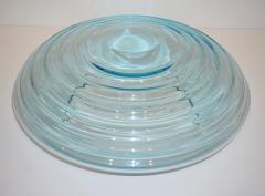 Giampaolo Ghisetti Giampaolo Ghisetti 1970s Vintage Round Aquamarine Blue Murano Glass Ribbed Bowl - 1116982