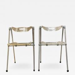 Giancarlo Piretti Modern Lucite Chrome Folding Chairs Giancarlo Piretti for Castelli 1960s ITALY - 2083743