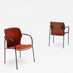 Gianfranco Frattini Gianfranco Frattini armchairs model Lalanda in dark cognac leather 1970s - 2002415