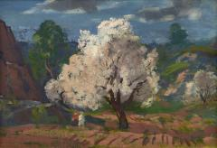 Gifford Beal Blossoming Tree with Stormy Sky Cape Ann A double sided painting - 1697956