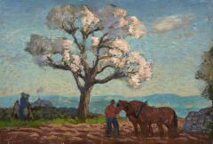 Gifford Beal Blossoming Tree with Stormy Sky Cape Ann A double sided painting - 1697957