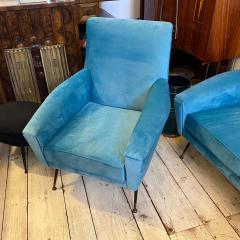 Gigi Radice 1960s Mid Century Modern Blue Velvet and Brass Italian Sofa and two Armchairs - 2095056