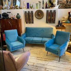 Gigi Radice 1960s Mid Century Modern Blue Velvet and Brass Italian Sofa and two Armchairs - 2095057