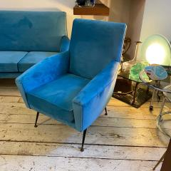Gigi Radice 1960s Mid Century Modern Blue Velvet and Brass Italian Sofa and two Armchairs - 2095058