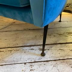 Gigi Radice 1960s Mid Century Modern Blue Velvet and Brass Italian Sofa and two Armchairs - 2095059