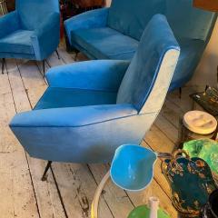 Gigi Radice 1960s Mid Century Modern Blue Velvet and Brass Italian Sofa and two Armchairs - 2095061