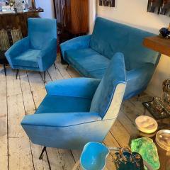 Gigi Radice 1960s Mid Century Modern Blue Velvet and Brass Italian Sofa and two Armchairs - 2095064