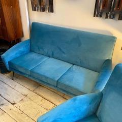 Gigi Radice 1960s Mid Century Modern Blue Velvet and Brass Italian Sofa and two Armchairs - 2095065