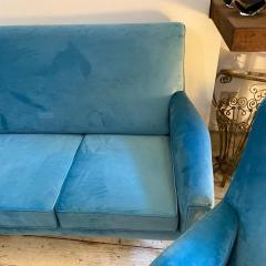 Gigi Radice 1960s Mid Century Modern Blue Velvet and Brass Italian Sofa and two Armchairs - 2095066