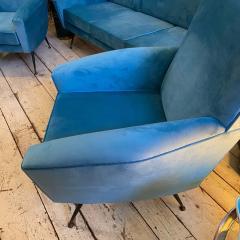 Gigi Radice 1960s Mid Century Modern Blue Velvet and Brass Italian Sofa and two Armchairs - 2095068