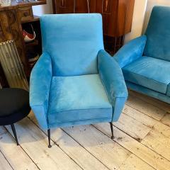 Gigi Radice 1960s Mid Century Modern Blue Velvet and Brass Italian Sofa and two Armchairs - 2095070
