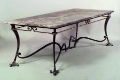 Gilbert Poillerat French 1940s Iron and Gilt Rope Trimmed Large Rectangular Center Table - 436373