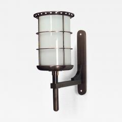 Gilbert Poillerat French 1940s Steel and Brass Cylindrical Shaped Bracket Lantern - 470553