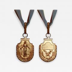 Gilbert Poillerat Gilbert POILLERAT Rare Art Deco Commander Silver Gilt Medal - 850322