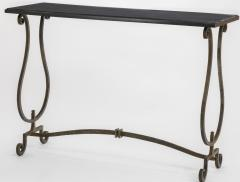 Gilbert Poillerat Gilbert Poillerat documented wrought iron and marble top console - 948478