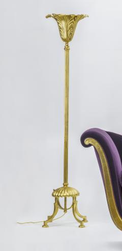 Gilbert Poillerat Gilbert Poillerat gold leaf wrought iron neo classic floor lamp - 828745