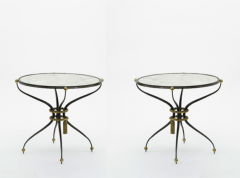 Gilbert Poillerat Gilbert Poillerat pair of wrought iron coffee table with mirror top - 830284